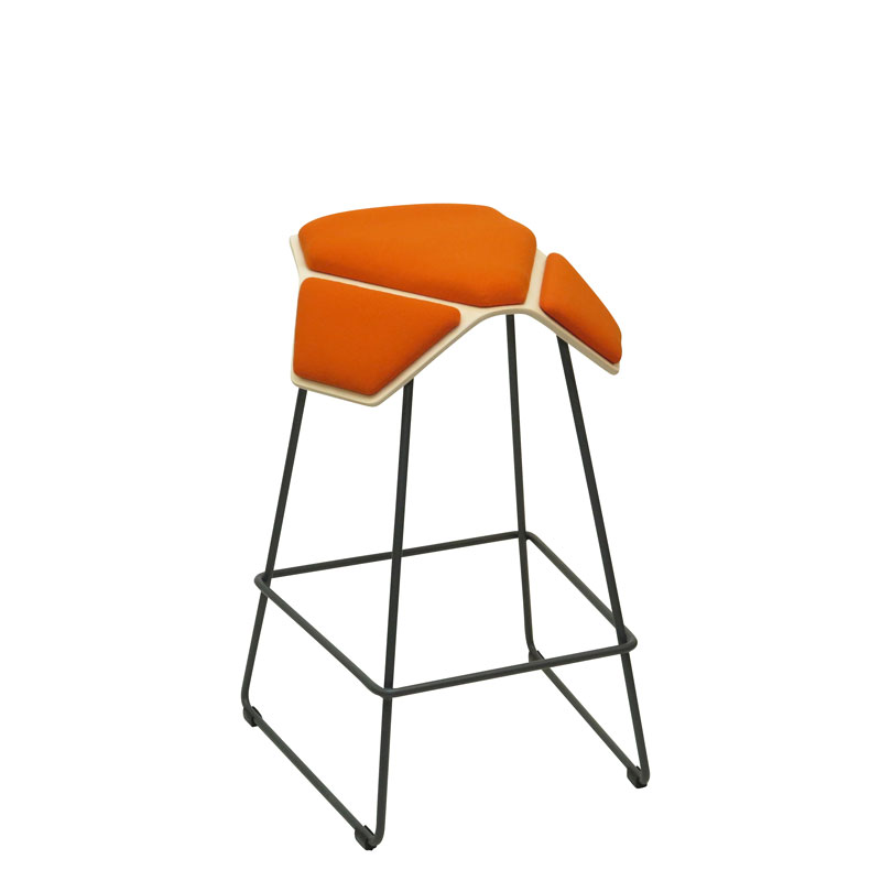 saddle, ergonomic, chair, bar stool, wood, design, finnish, furniture, school - myKolme Iloa plus bar birch orange fame