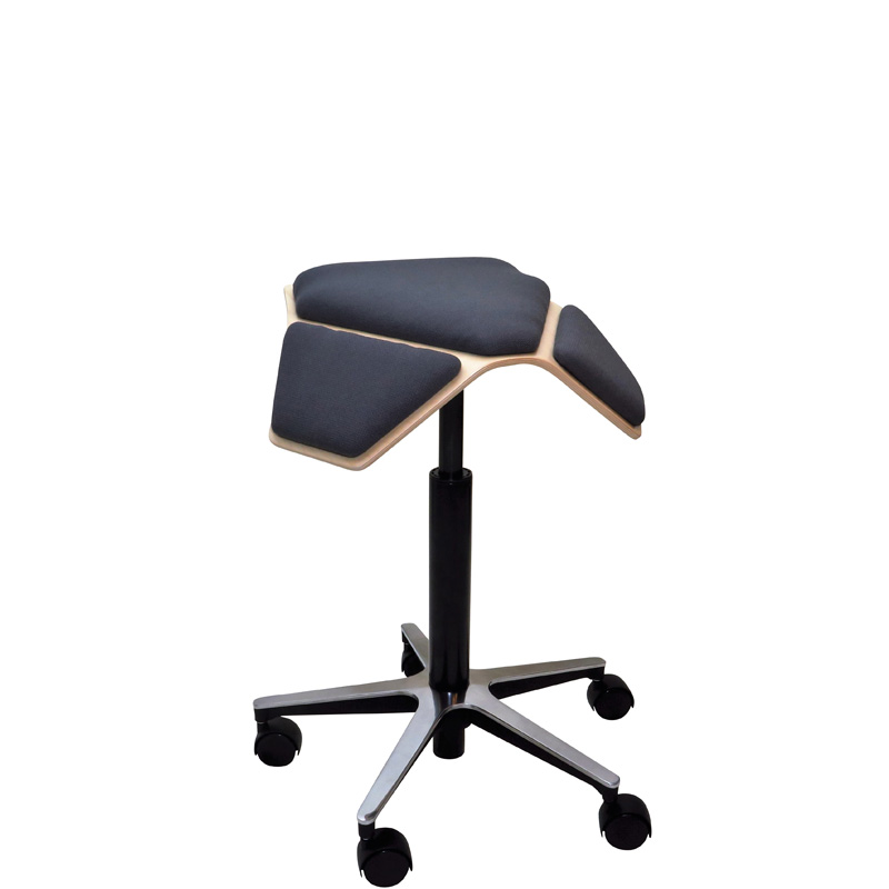 saddle, ergonomic, chair, stool, wood, design, finnish, furniture, school - myKolme Iloa plus grey