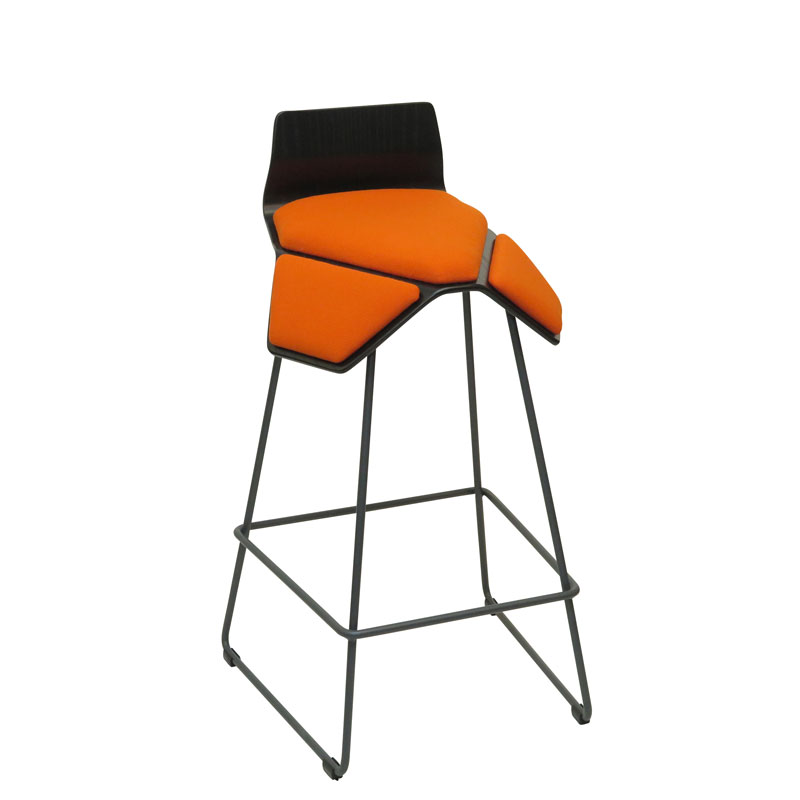 saddle, ergonomic, chair, bar stool, wood, design, finnish, furniture, school - myKolme Iloa smile bar ash orange fame