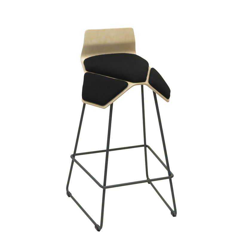 saddle, ergonomic, chair, bar stool, wood, design, finnish, furniture, school - myKolme Iloa smile bar birch black fame