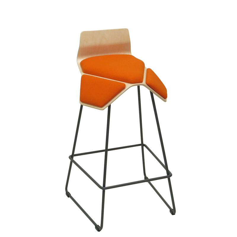saddle, ergonomic, chair, bar stool, wood, design, finnish, furniture, school - myKolme Iloa smile bar birch orange fame