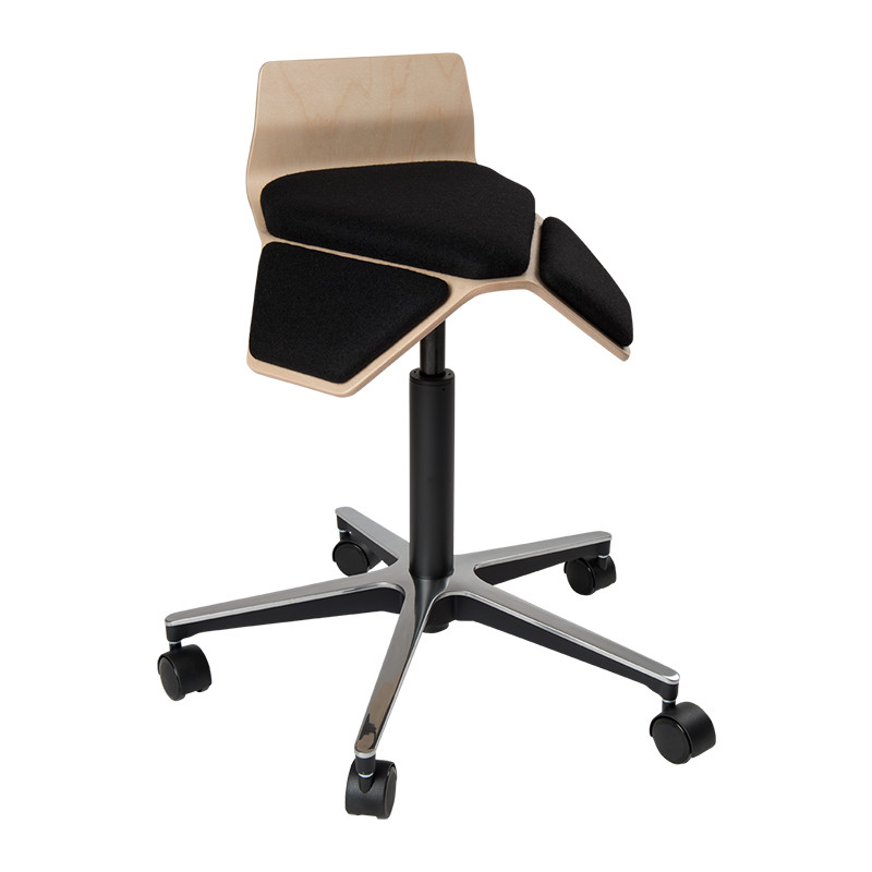 saddle, ergonomic, chair, bar stool, wood, design, finnish, furniture, school - myKolme Iloa smile black