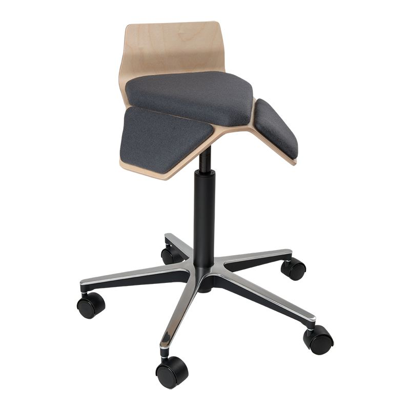 saddle, ergonomic, chair, stool, wood, design, finnish, furniture, school - myKolme Iloa smile grey