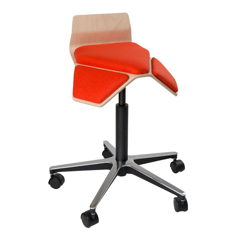 saddle, ergonomic, chair, stool, wood, design, finnish, furniture, school - myKolme Iloa smile orange