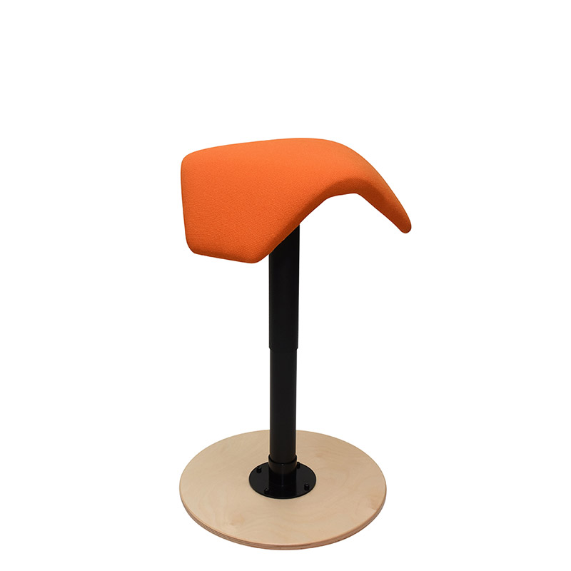 saddle, ergonomic, chair, stool, wood, design, finnish, furniture, school - myKolme liiku joy birch fame orange