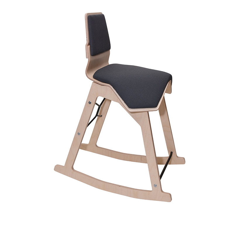 saddle, ergonomic, chair, stool, wood, design, finnish, furniture, school - myKolme Liiku swing grey
