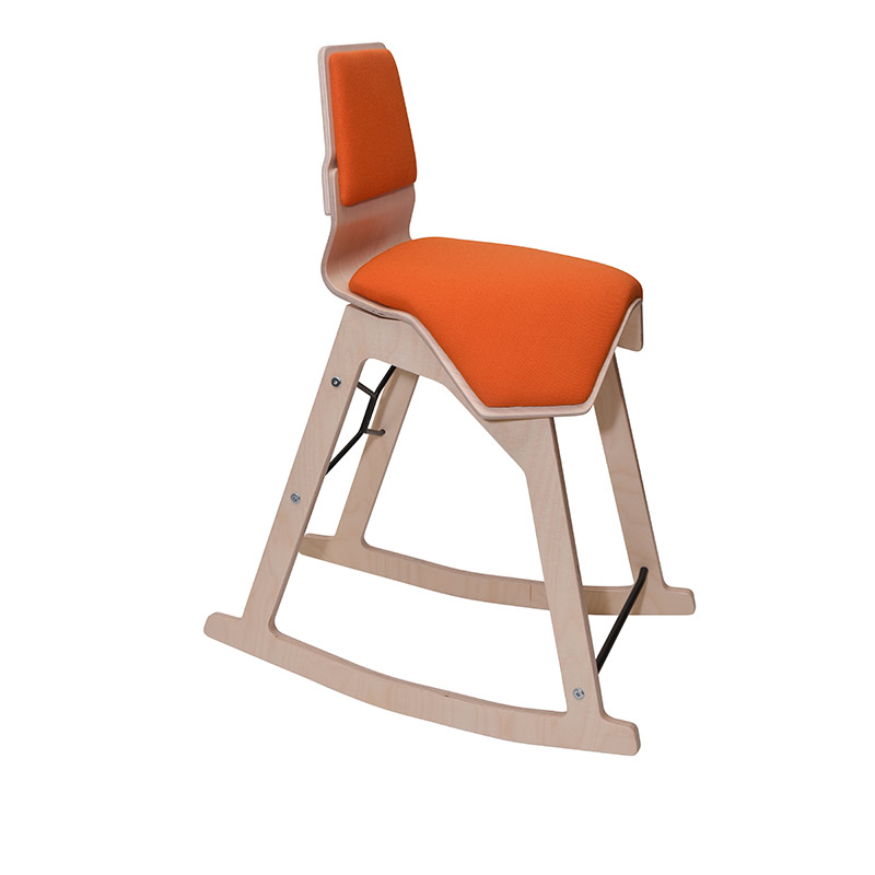 saddle, ergonomic, chair, stool, wood, design, finnish, furniture, school - myKolme Liiku swing orange