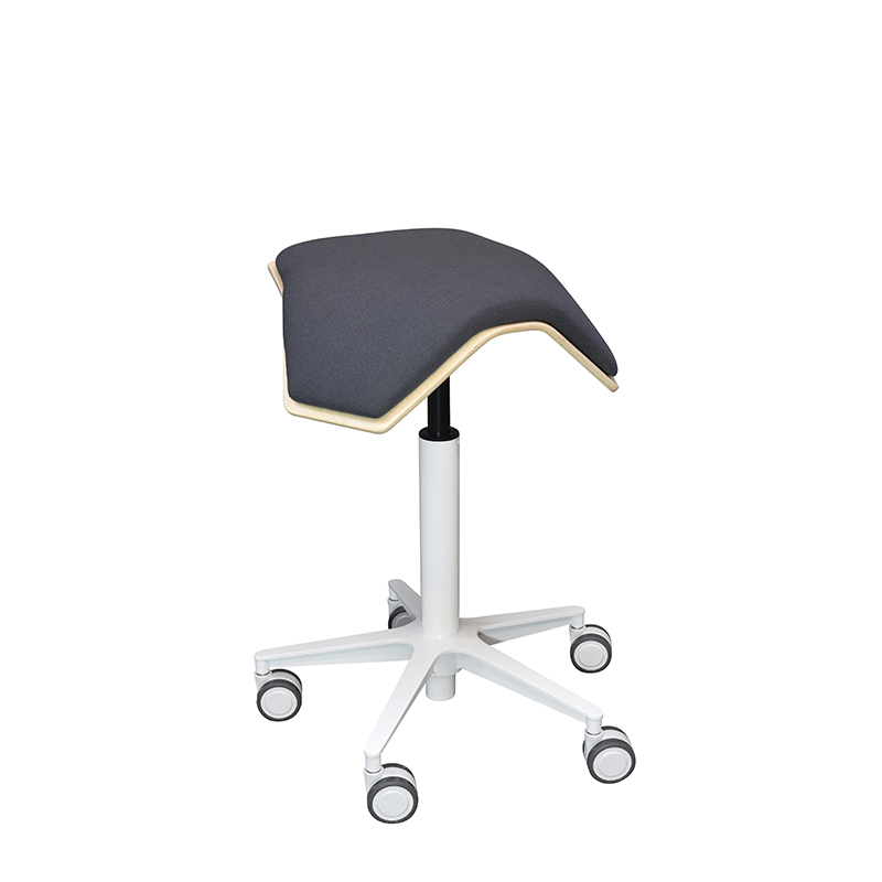 saddle, ergonomic, chair, stool, wood, design, finnish, furniture, school - myKolme Iloa one snow grey