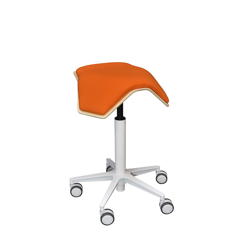 saddle, ergonomic, chair, stool, wood, design, finnish, furniture, school - myKolme Iloa one snow orange