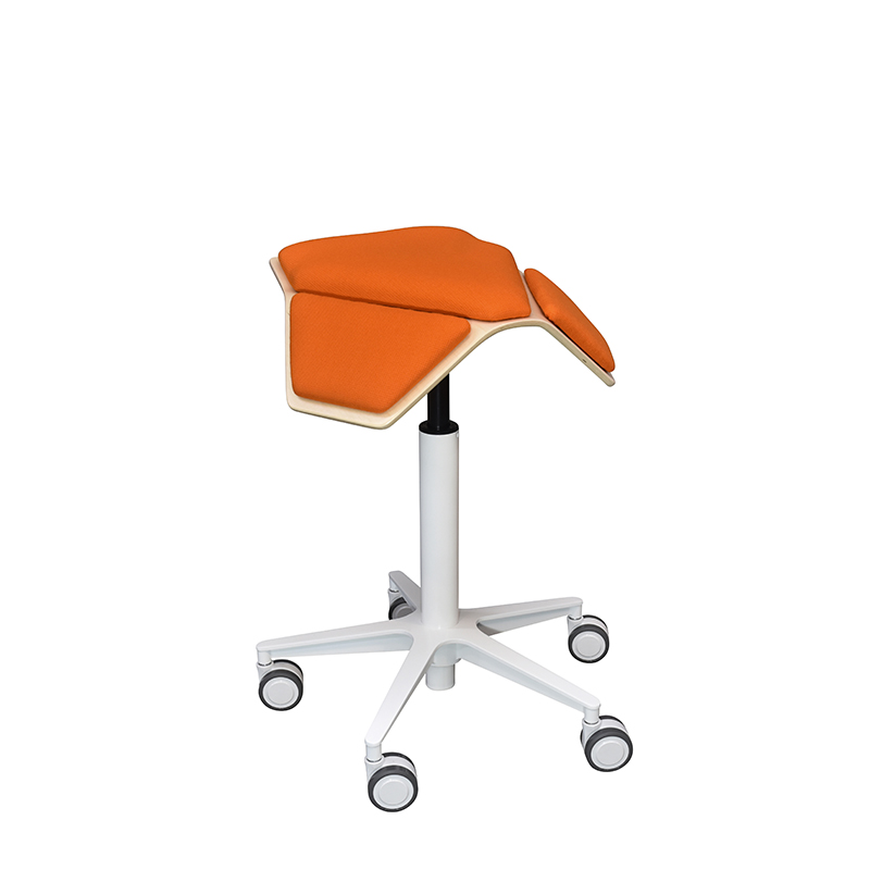 saddle, ergonomic, chair, stool, wood, design, finnish, furniture, school - myKolme Iloa plus snow orange